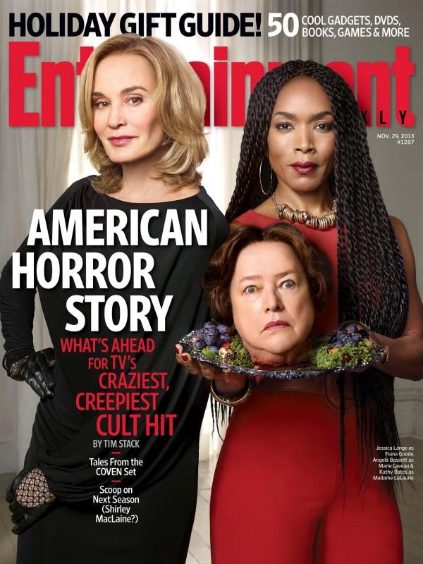 American Horror Story, Coven - Angela Bassett, la testa di Kathy Bates e Jessica Lange sulla cover di Entertainment Weekly