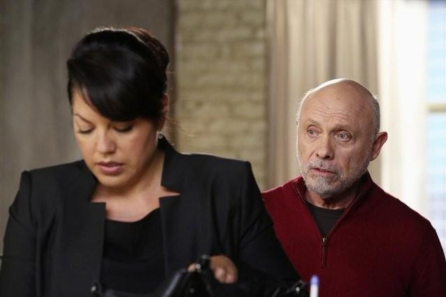 Grey's Anatomy: Hector Elizondo e Sara Ramirez in una scena dell'episodio Sorry Seems to Be the Hardest Word