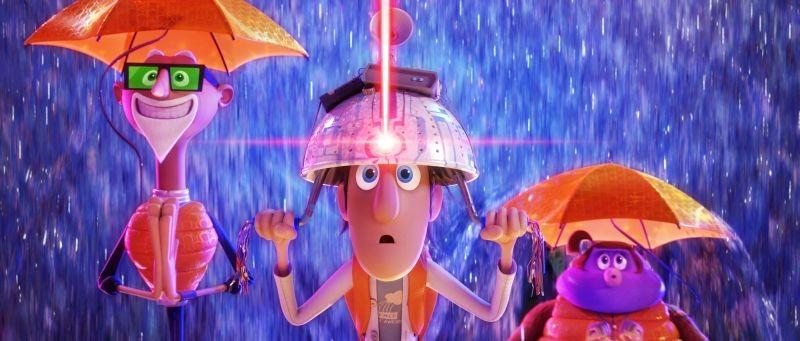 Piovono polpette 2, Flint in una buffa scena del cartoon