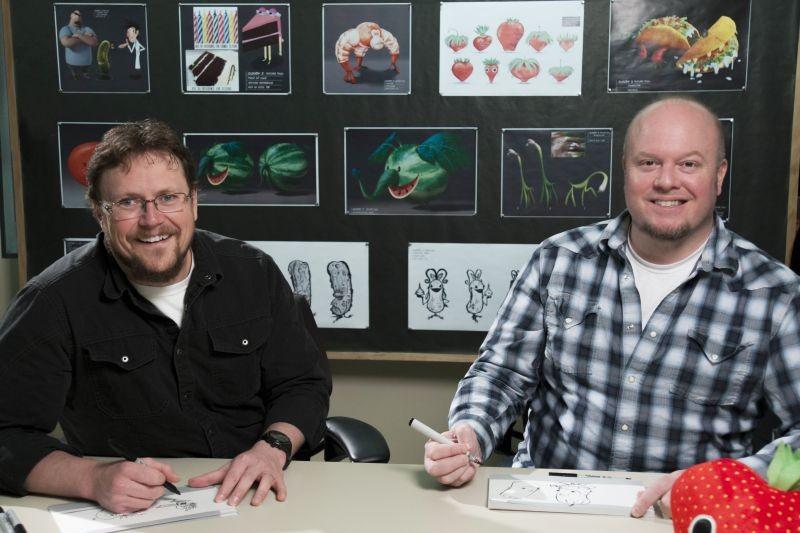 Piovono polpette 2, i registi del film Cody Cameron e Kris Pearn in una foto promozionale