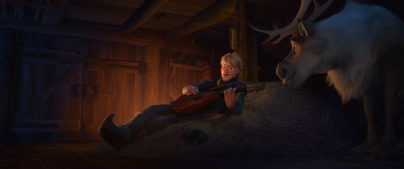 Frozen: Kristoff con la sua renna Sven in una scena del film
