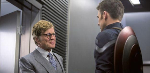 Captain America: The Winter Soldier: Robert Redford e Chris Evans in una scena del film