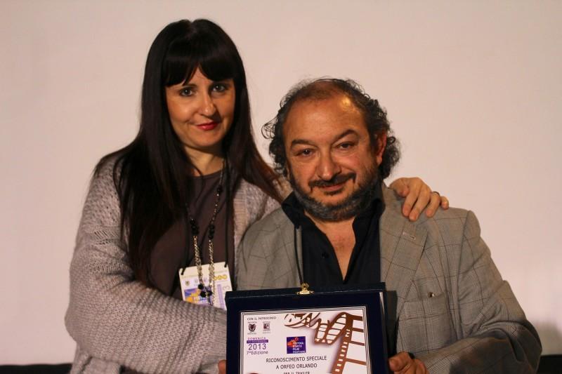 Barbara Boldri e Orfeo Orlando, premiati al Pistoia Corto Film Festival 2013 per il  per il teaser del corto Wingless Gulls