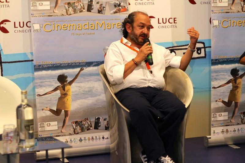 Orfeo Orlando durante il workshop a CinemadaMare, 70 Mostra del Cinema di Venezia 2013