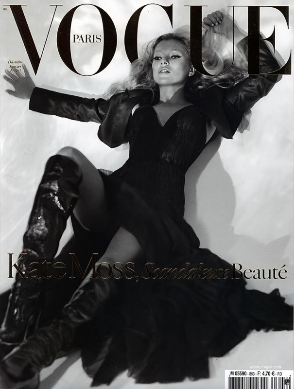 Kate Moss su Vogue, in bianco e nero