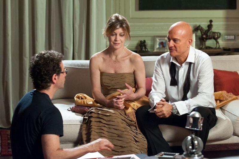 La gente che sta bene: Claudio Bisio e Margherita Buy sul set del film con il regista Francesco Patierno