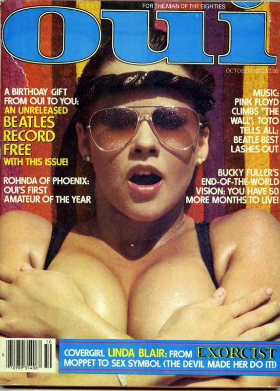 Linda Blair in cover su Oui, in una posa sexy