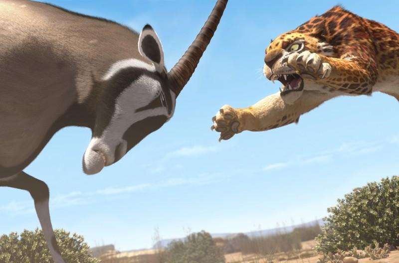 Khumba: Phango il temibile leopardo all'attacco in una scena del film