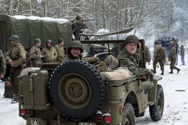 The Monuments Men: Bill Murray e Bob Balaban su una jeep militare