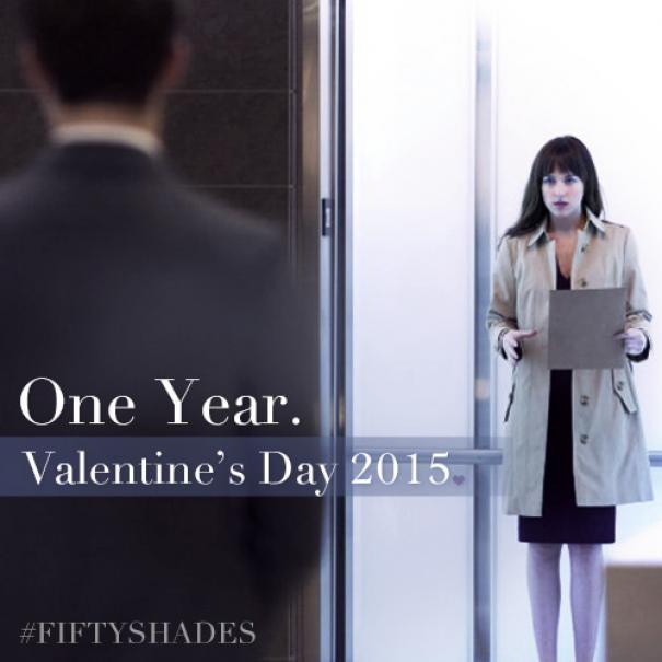 Cinquanta sfumature di grigio: Jamie Dornan e Dakota Johnson in un'immagine promozionale con la release del film