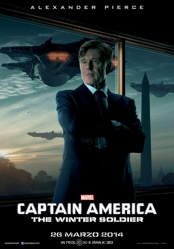 Captain America: The Winter Soldier, il character banner dell'agente Alexander Pierce (Robert Redford)