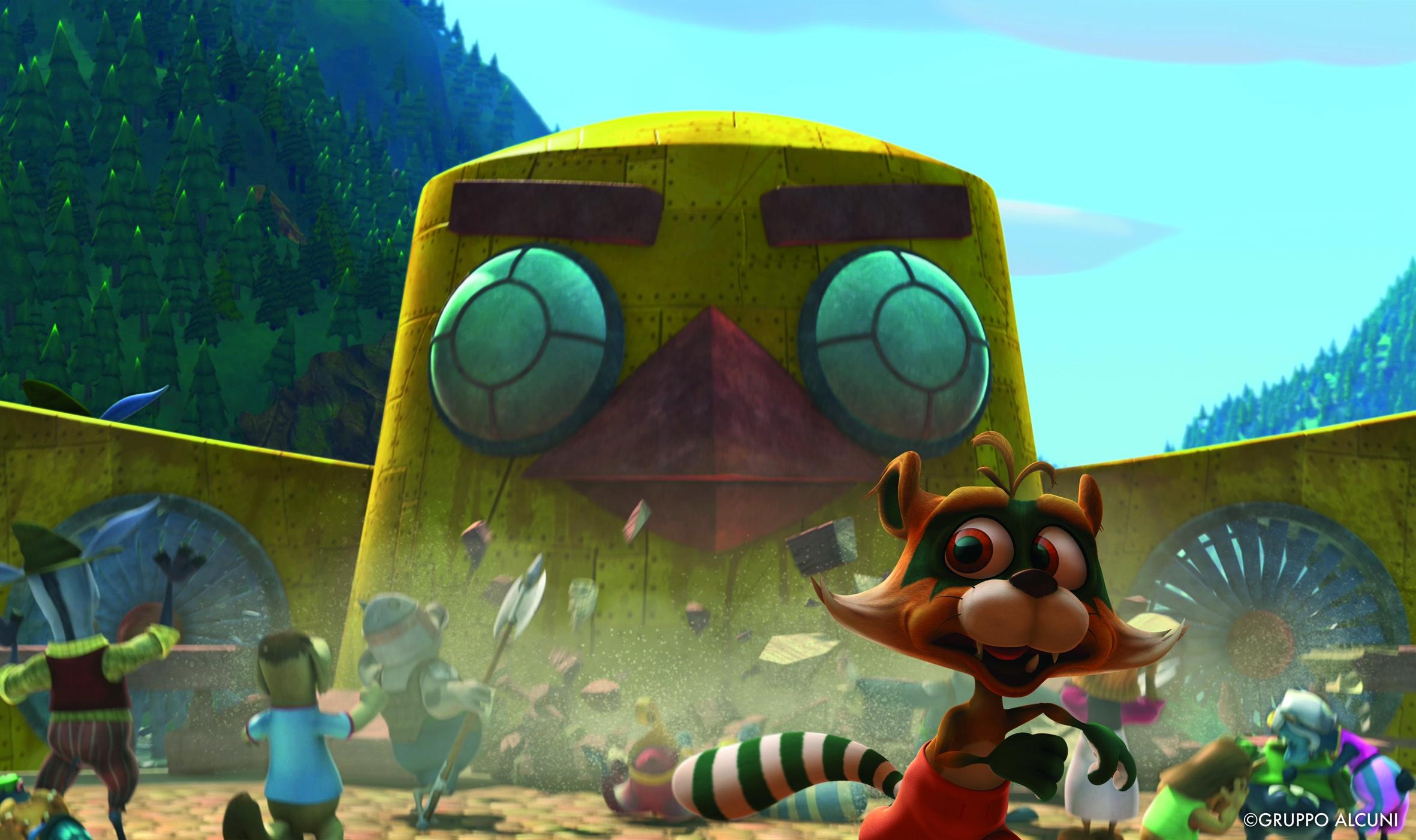 Cuccioli - Il paese del vento: le macchine diaboliche di Maga Cornacchia in una scena del film