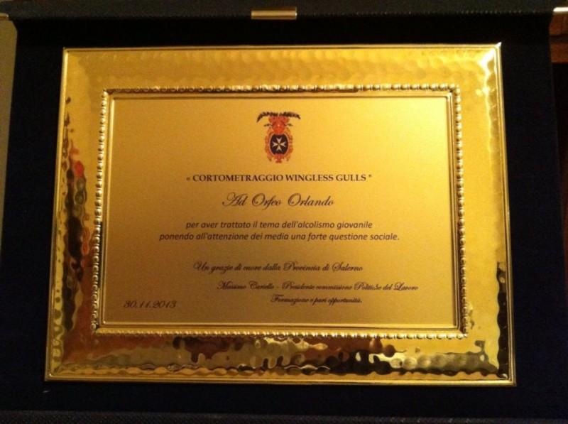 Premio della Provincia di Salerno allo short movie Wingless Gulls di Orfeo Orlando