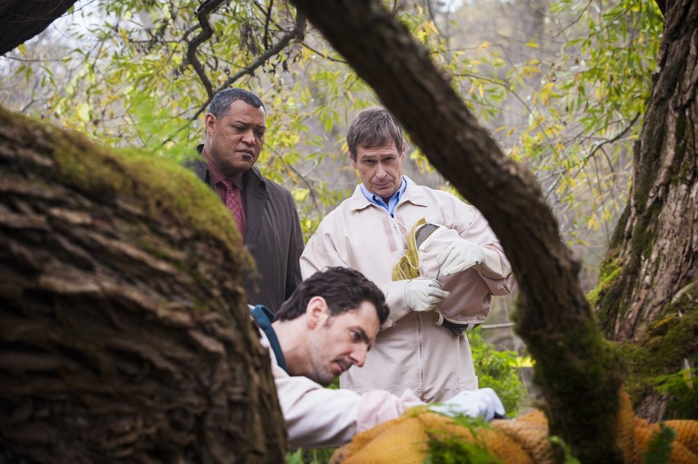 Hannibal: Laurence Fishburne con Scott Thompson e Aaron Abrams nell'episodio Takiawase