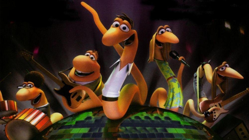 Barry, Gloria e i Disco Worms: una scena di gruppo del film