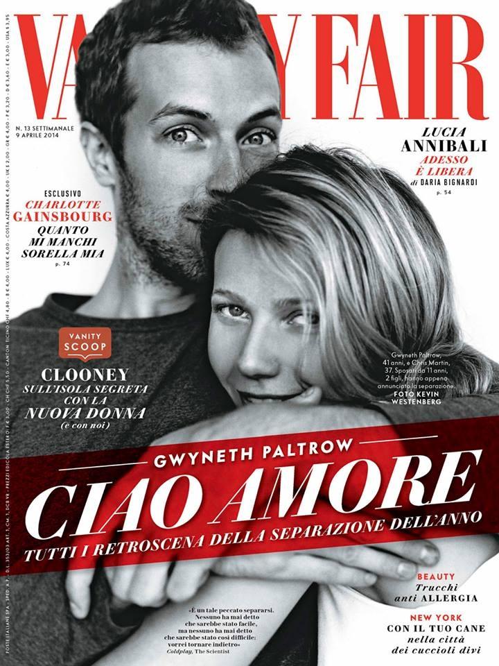 'Ciao Amore' - Gwyneth Paltrow e Chris Martin sulla cover di Vanity Fair (aprile 2014) dedicata alla fine del loro matrimonio