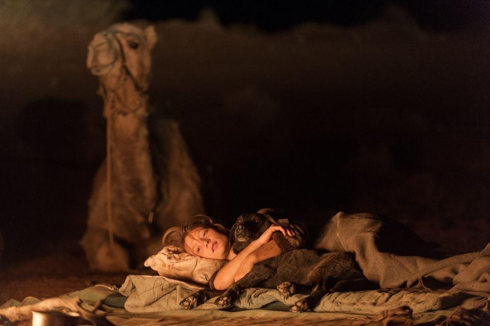 Tracks - Attraverso il deserto: Mia Wasikowska nella notte del deserto in una scena