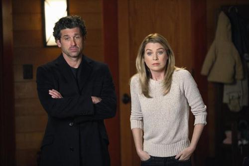 Grey's Anatomy: Ellen Pompeo e Patrick Dempsey in una scena dell'episodio Change of Heart, della decima stagione