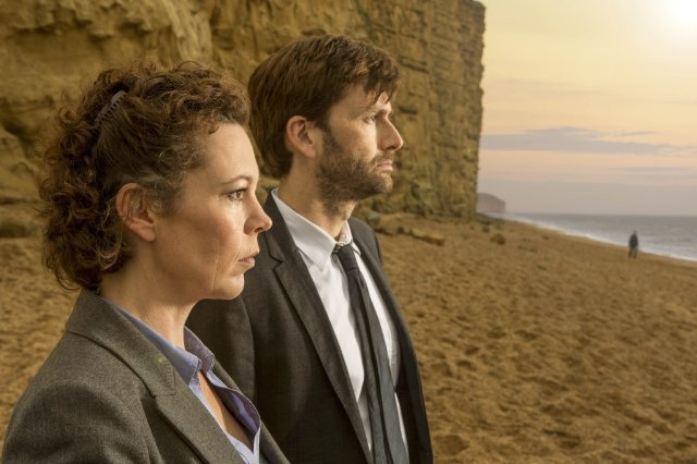 Broadchurch: David Tennant, Olivia Colman in una scena