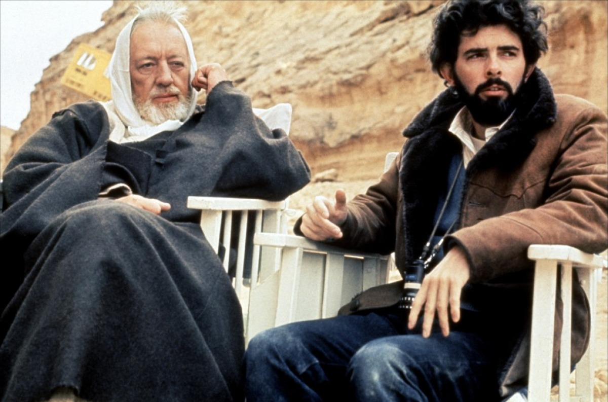 George Lucas e Alec Guinness sul set di Guerre Stellari