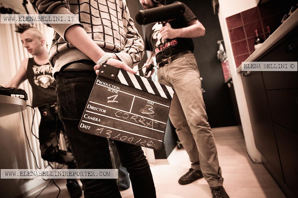 Tellurica: un'immagine dal set in cui si vede il ciak