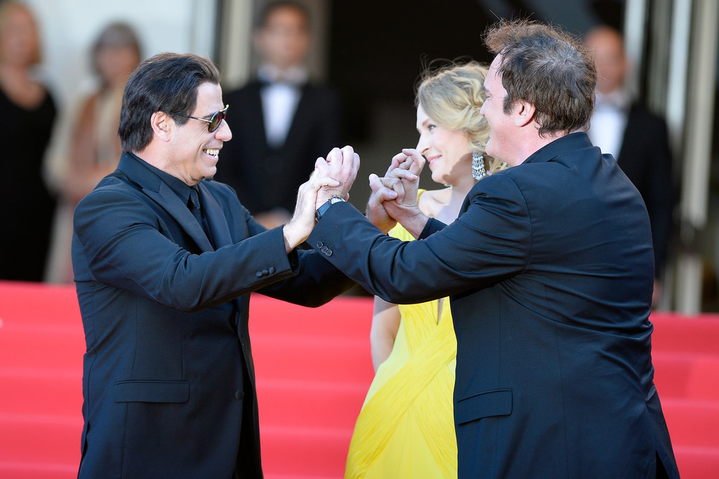 Pulp Fiction, vent'anni dopo: Uma Thurman, John Travolta e Quentin Tarantino sul red carpet di Cannes 2014