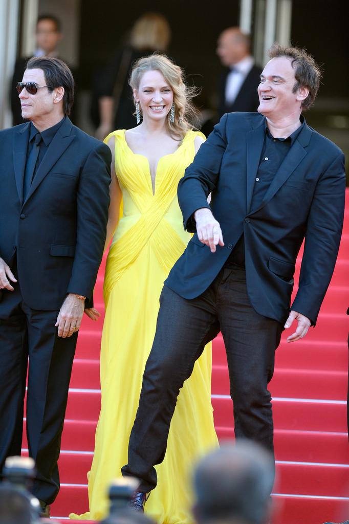 Pulp Fiction, 20 anni dopo: Uma Thurman, John Travolta e Quentin Tarantino sul tappeto rosso di Cannes 2014