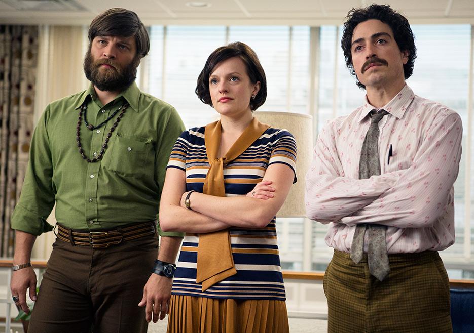 Mad Men: Jay R. Ferguson, Elisabeth Moss e Ben Feldman nell'episodio The Monolith