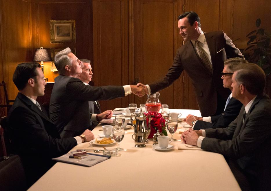 Mad Men: Jon Hamm, Scott Hoxby, Allan Havey e Harry Hamlin nell'episodio The Runaways