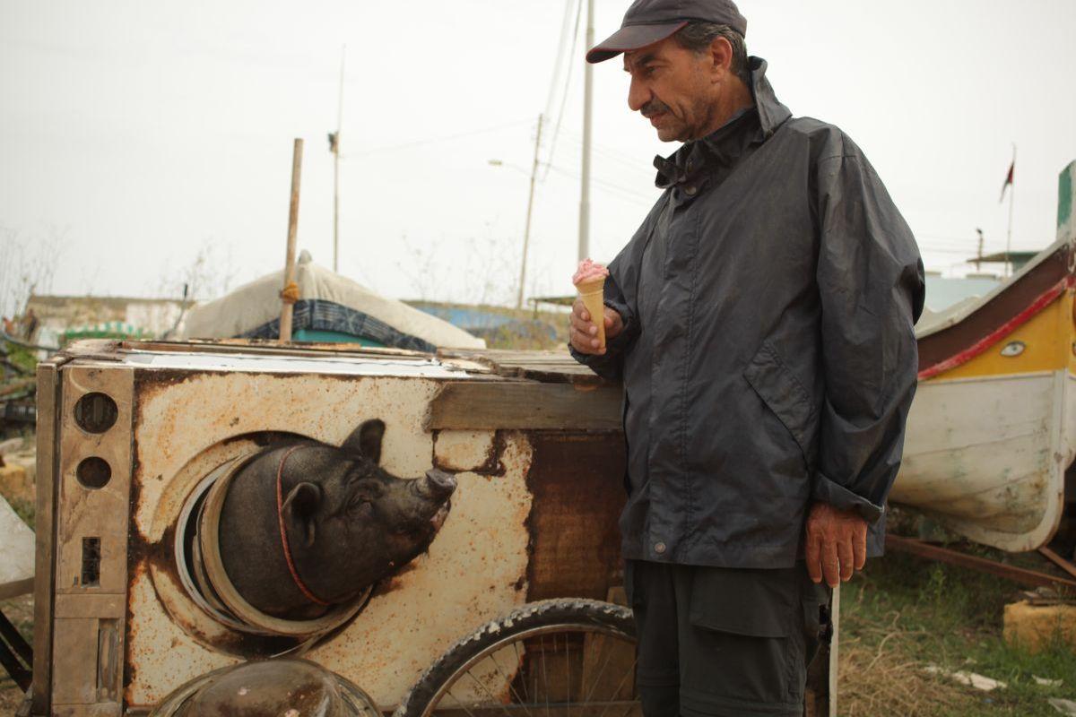 Un insolito naufrago nell'inquieto mare d'Oriente: Sasson Gabai con l'amico maiale in una scena