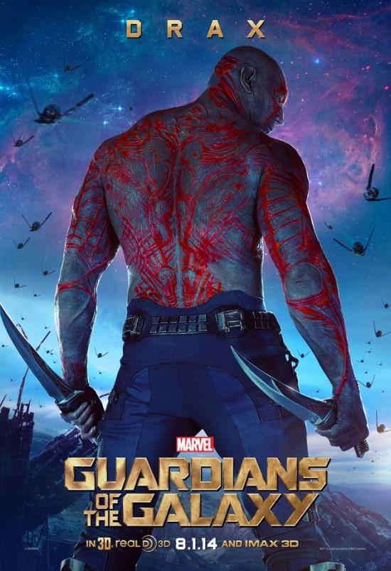 Guardiani della galassia: il character poster di Drax the Destroyer, alias Dave Bautista