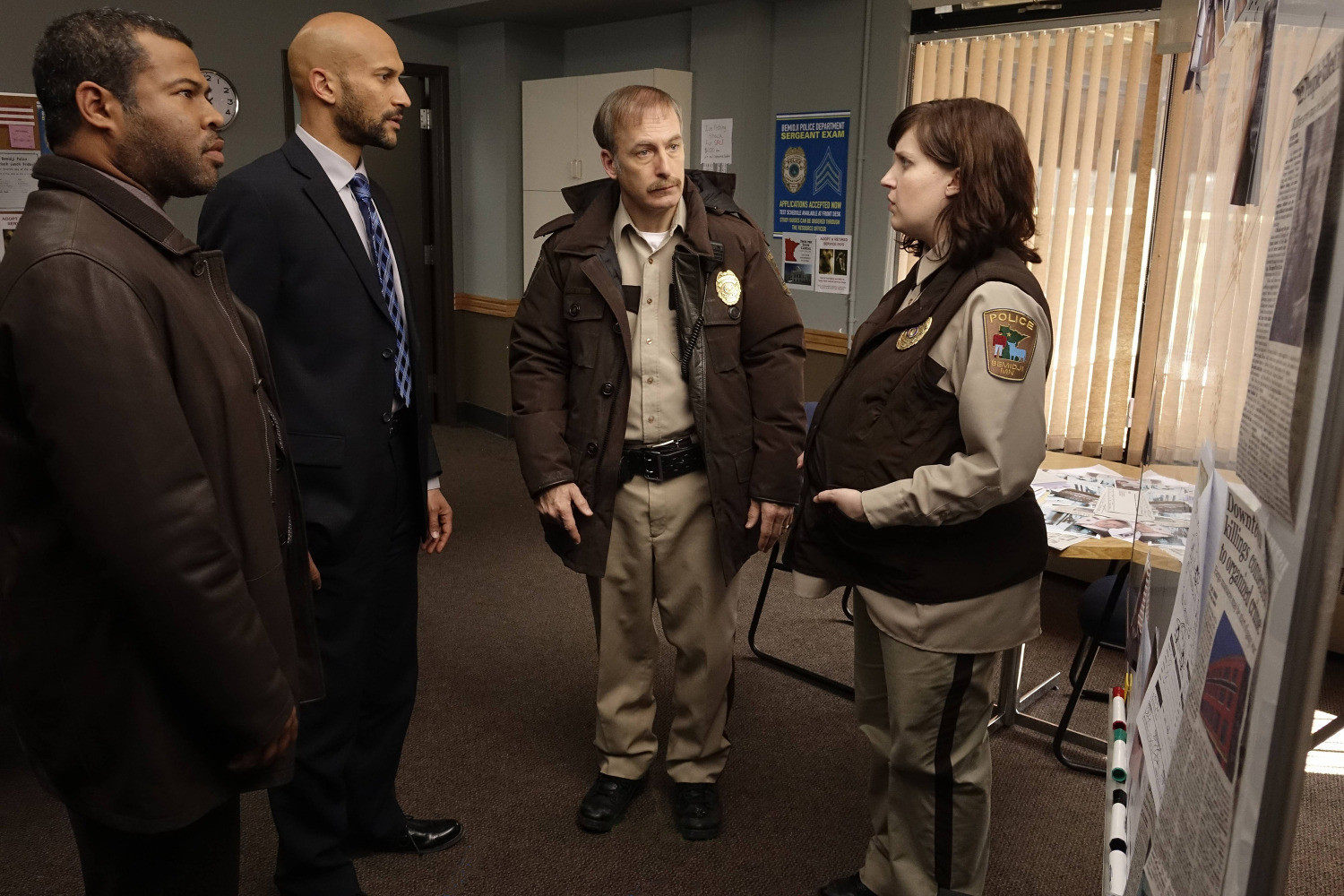 Fargo: Bob Odenkirk, Allison Tolman, Keegan-Michael Key, Jordan Peele nell'episodio A Fox, a Rabbit and a Cabbage
