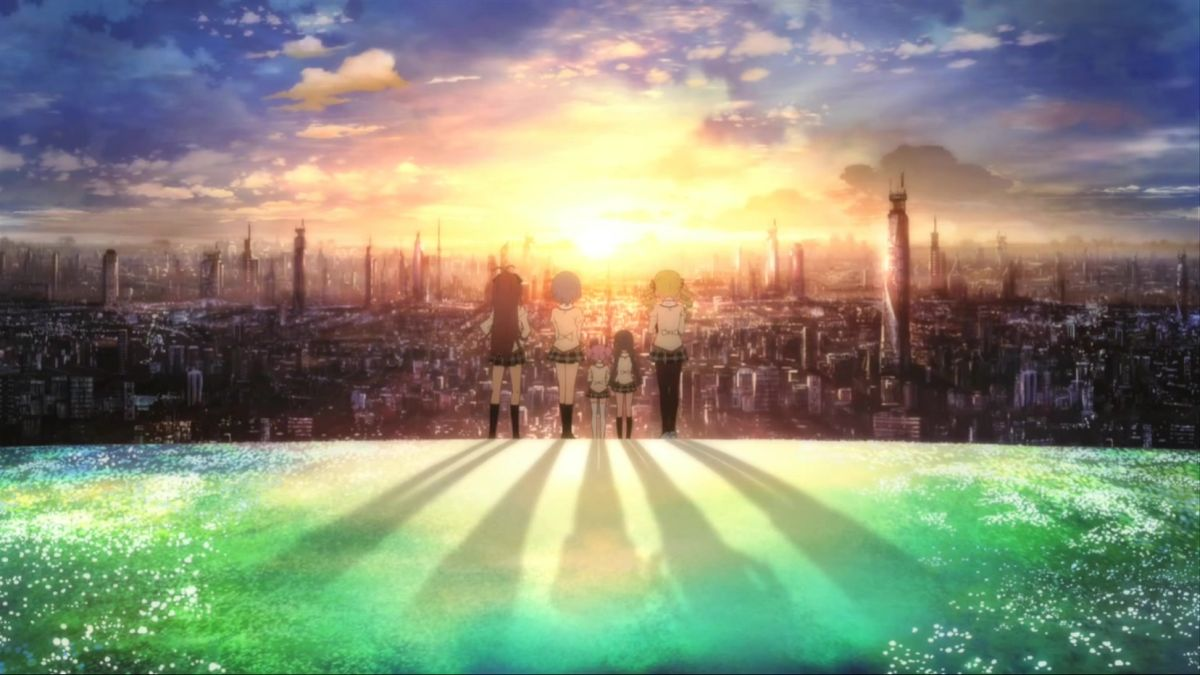 Una colorata scena tratta da Madoka Magica – The Movie: la storia della ribellione