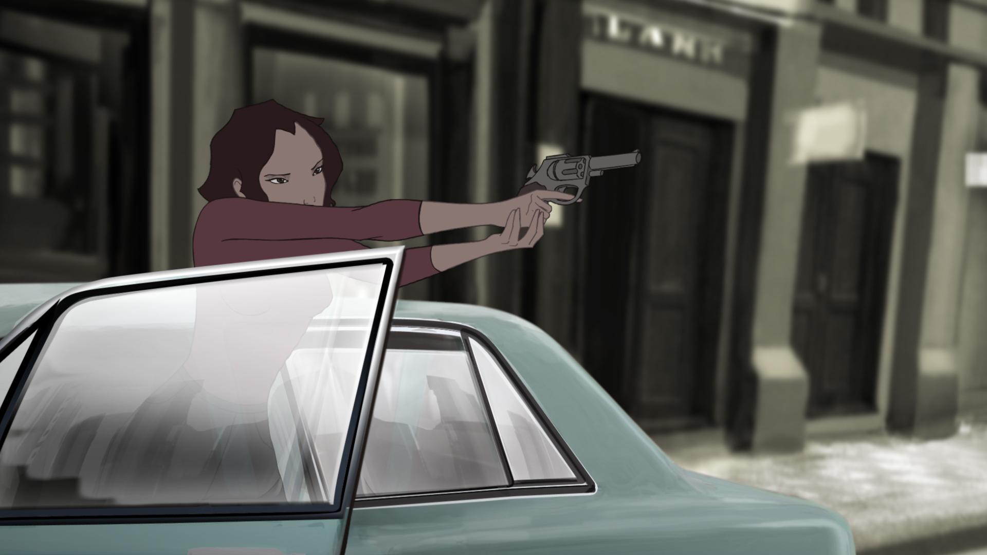 Una scena d'azione tratta dal film d'animazione Rio 2096 - Una storia d'amore e furia