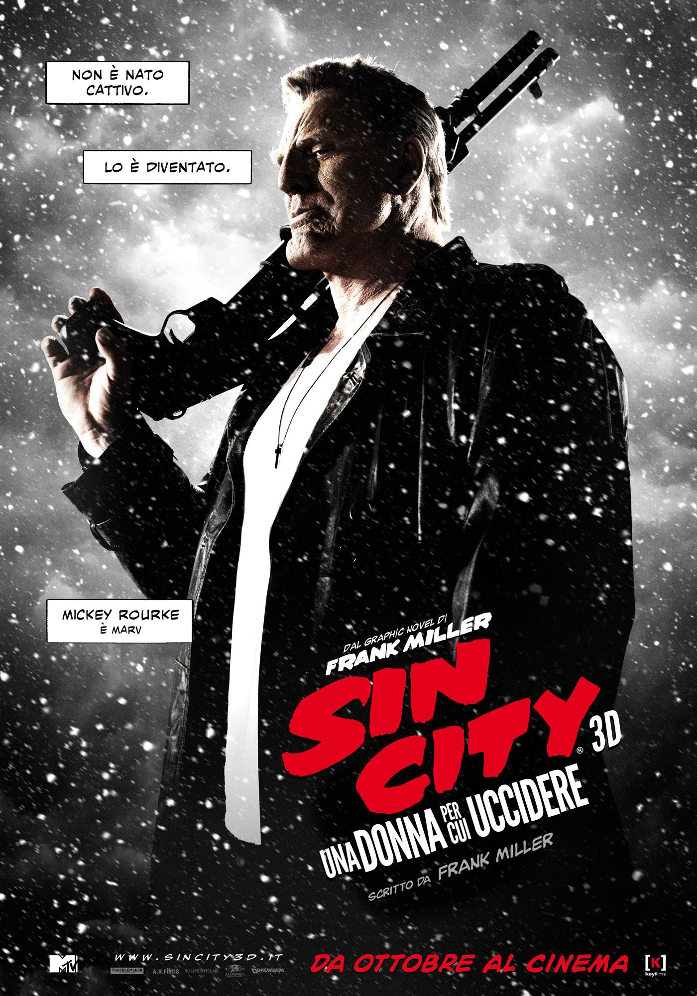 Sin City - Una donna per cui uccidere: il character poster italiano di Mickey Rourke