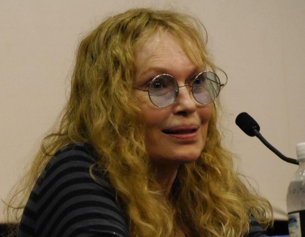 Un primo piano di Mia Farrow durante la conversazione col pubblico a Locarno 2014