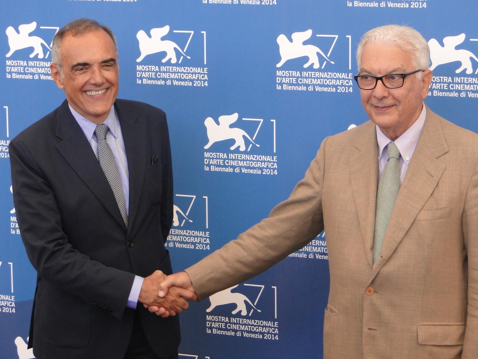 Venezia 2014: Alberto Barbera con il presidente Paolo Baratta