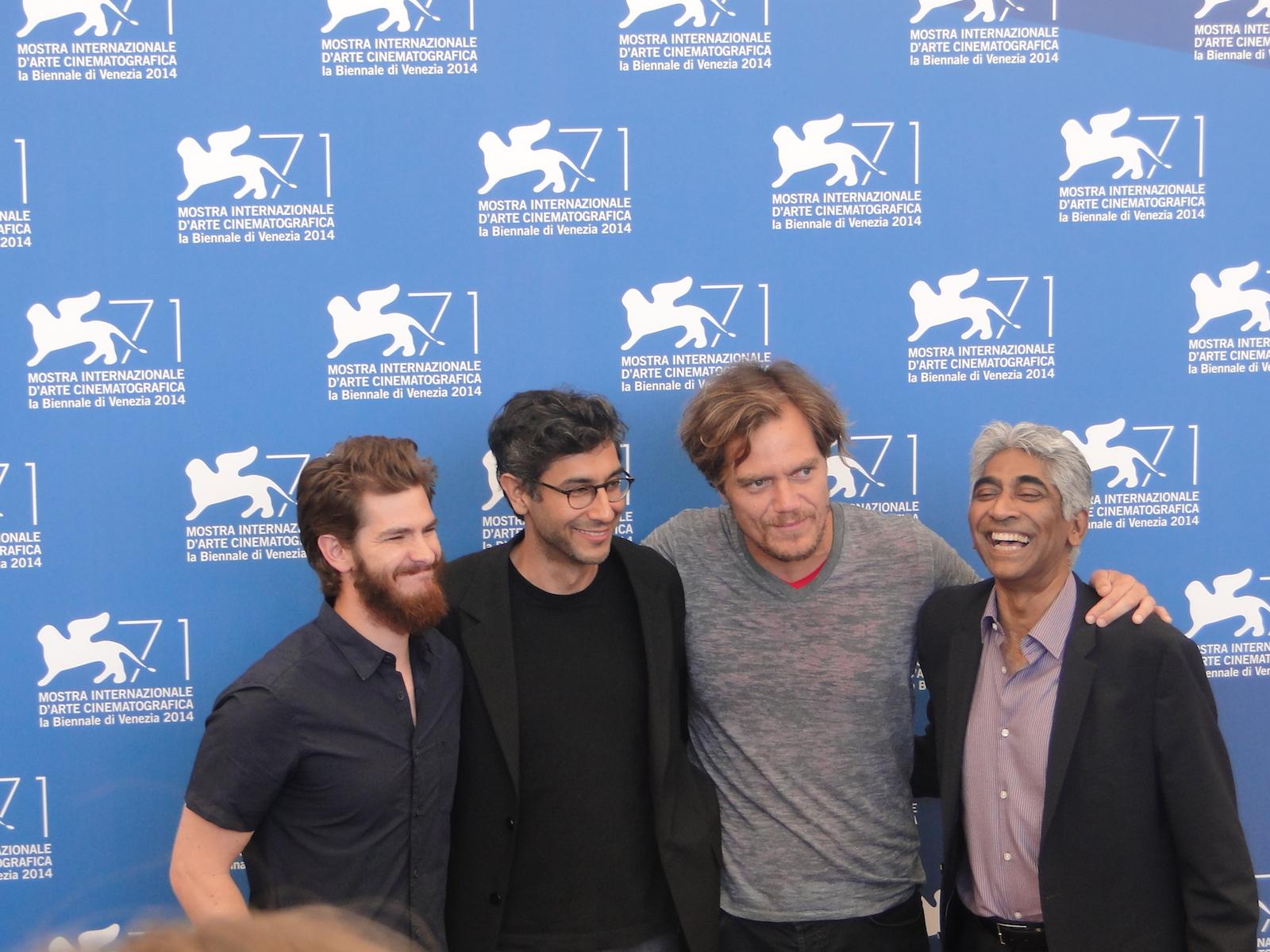 Venezia 2014: Andrew Garfield, Michael Shannon, Ramin Bahrani ed il produttore Ashok Amritraj al photocall di 99 Homes