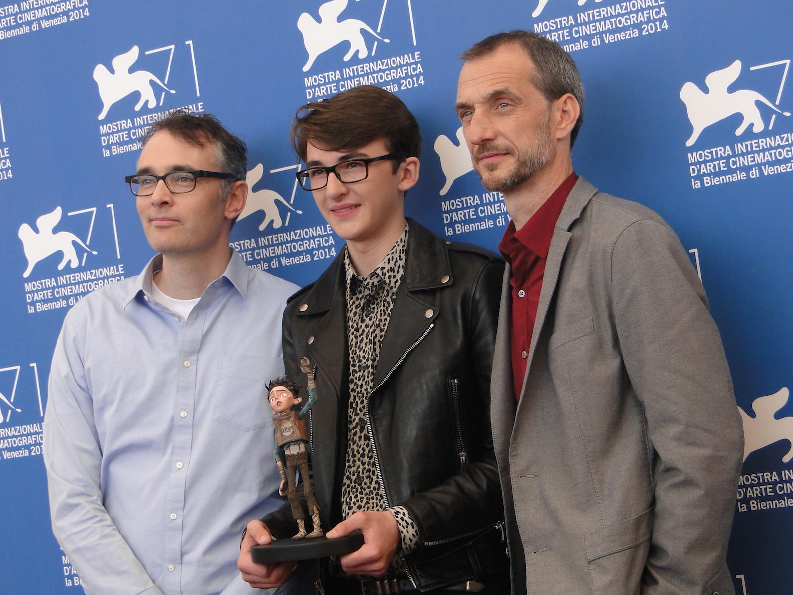 Boxtrolls: Isaac Hempstead-Wright posa con i registi Graham Annable e Anthony Stacchi a Venezia 2014