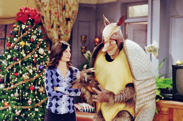 Friends: David Schwimmer e Courteney Cox nell'episodio L'armadillo natalizio