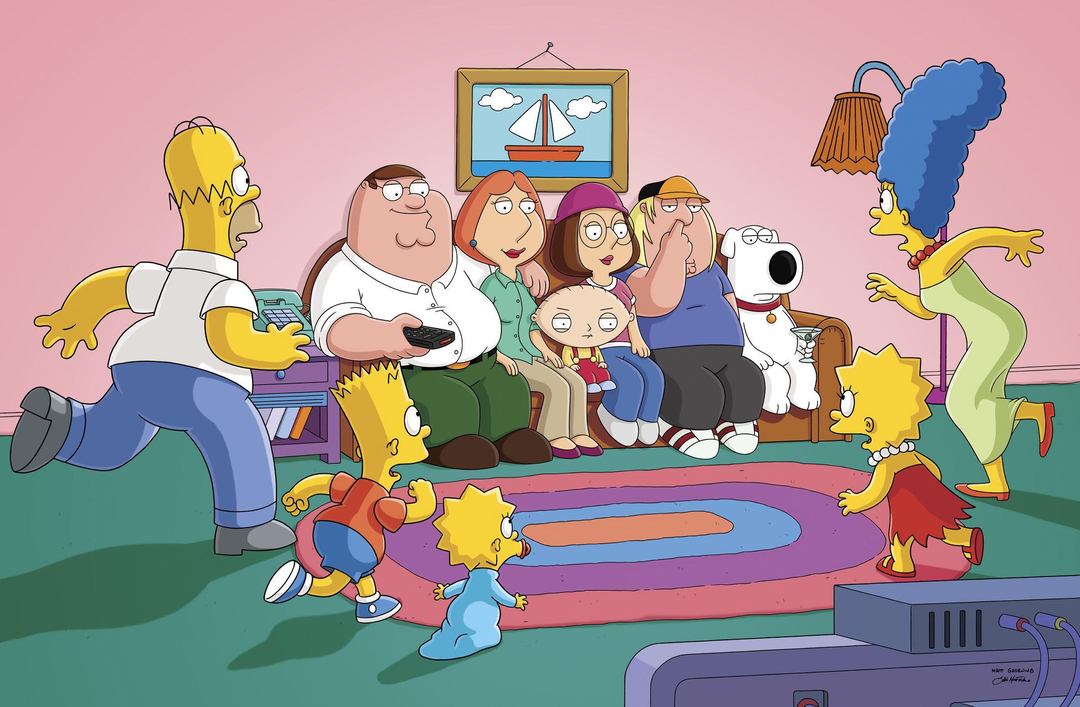 The Simpsons Guy: il divano dei Simpson occupato nel crossover Simpson/Griffin