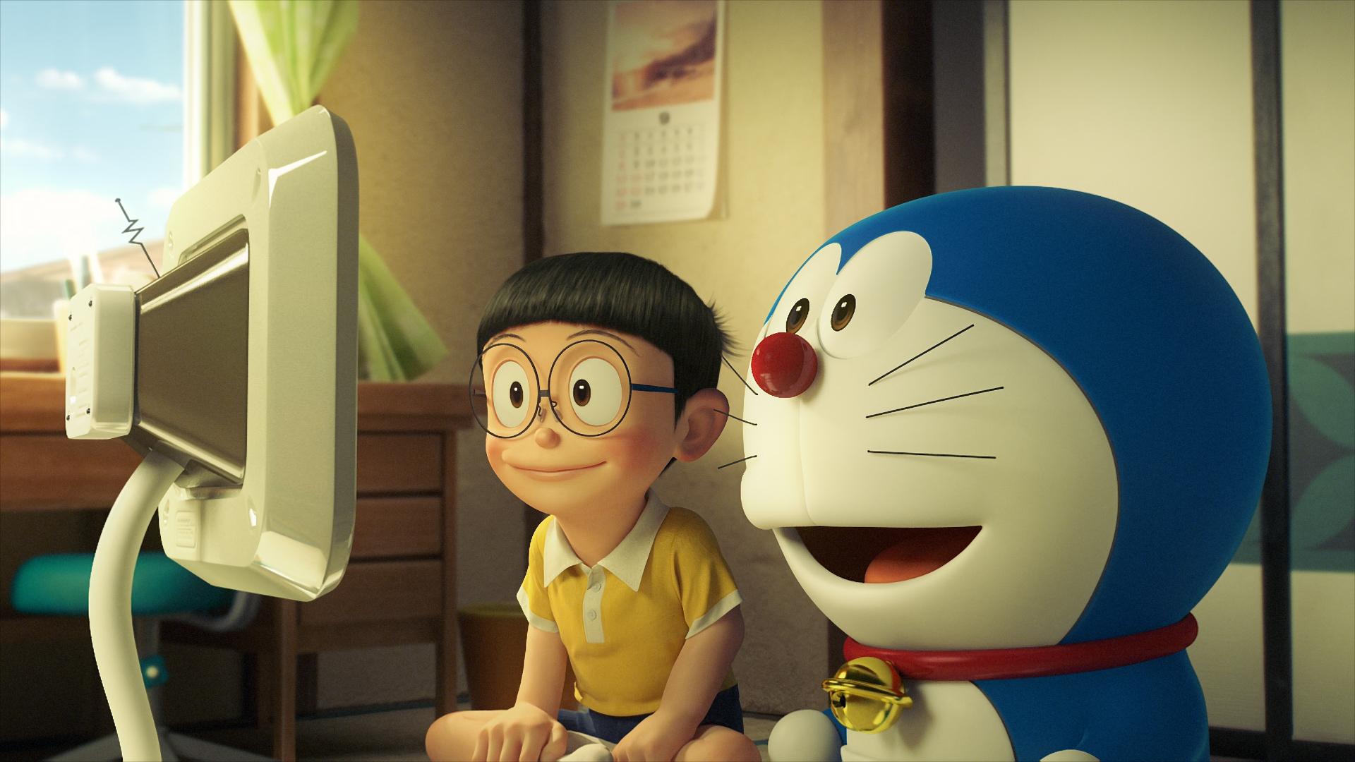 Doraemon: Nobita e Doraemon in una scena del film animato