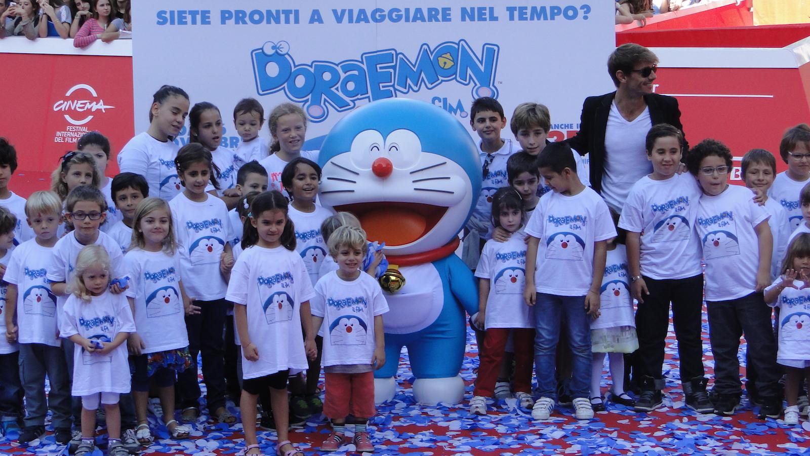 Doraemon: uno scatto dal tappeto rosso di Roma 2014 con Giorgio Pasotti