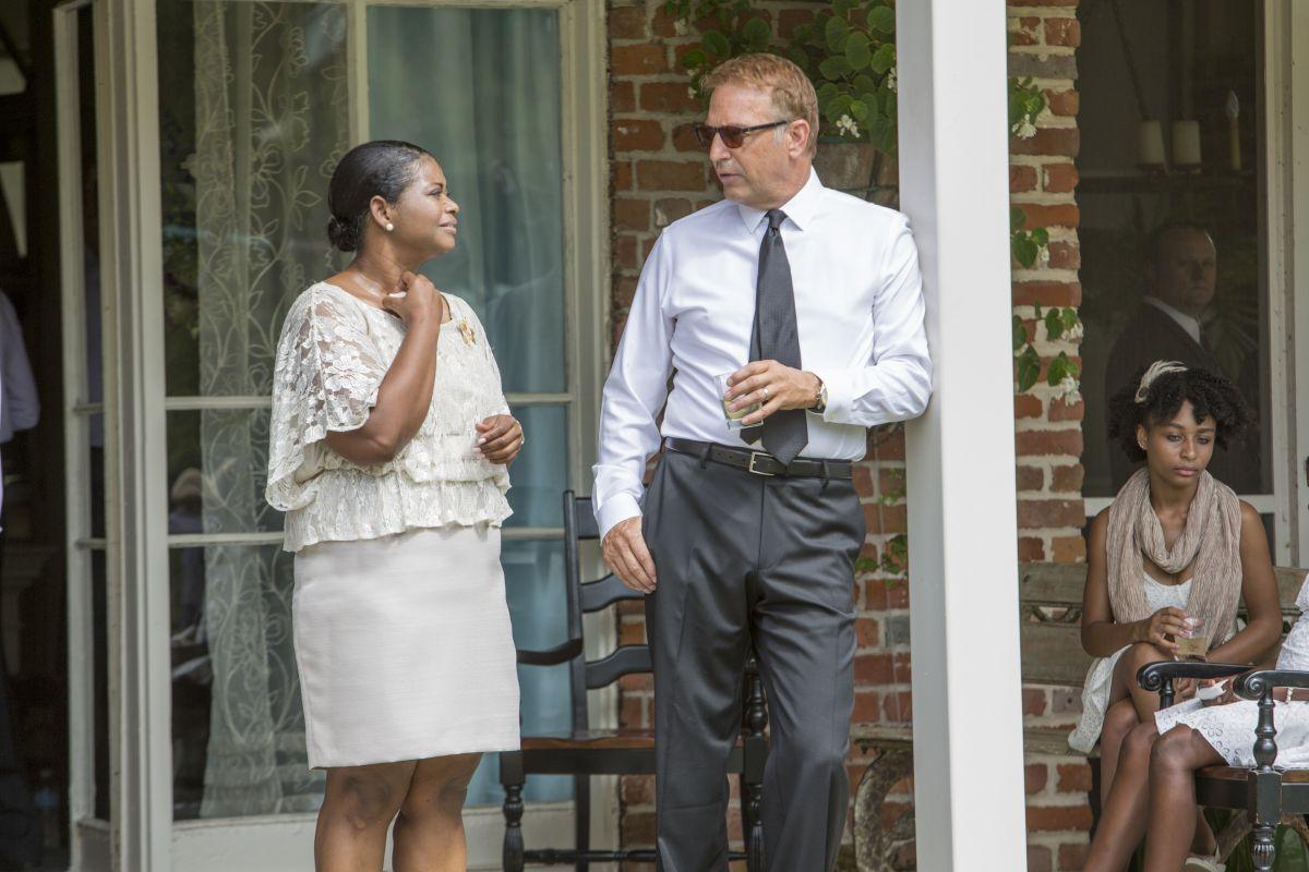 Black and White: Kevin Costner sul set del film con Octavia Spencer