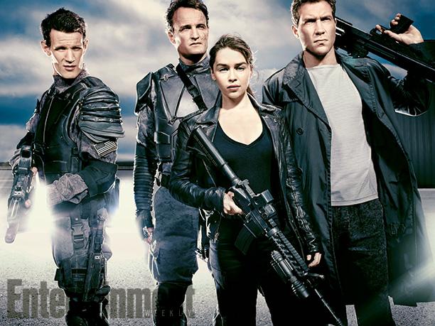 Terminator: Genisys - Foto di gruppo per Matt Smith, Jai Courtney, Jason Clarke e Emilia Clarke