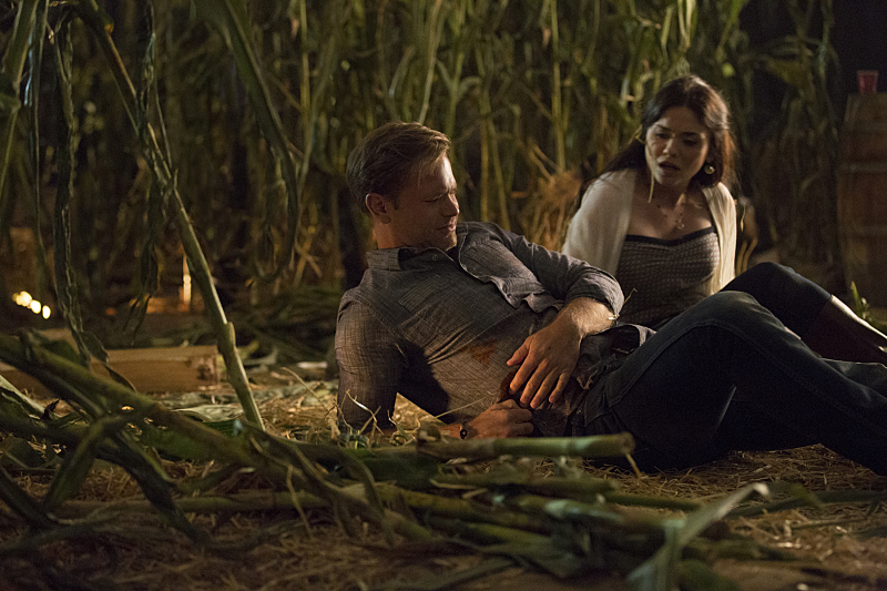 The Vampire Diaries: Matthew Davis e Jodi Lyn O'Keefe in una scena di The World Has Turned and Left Me Here