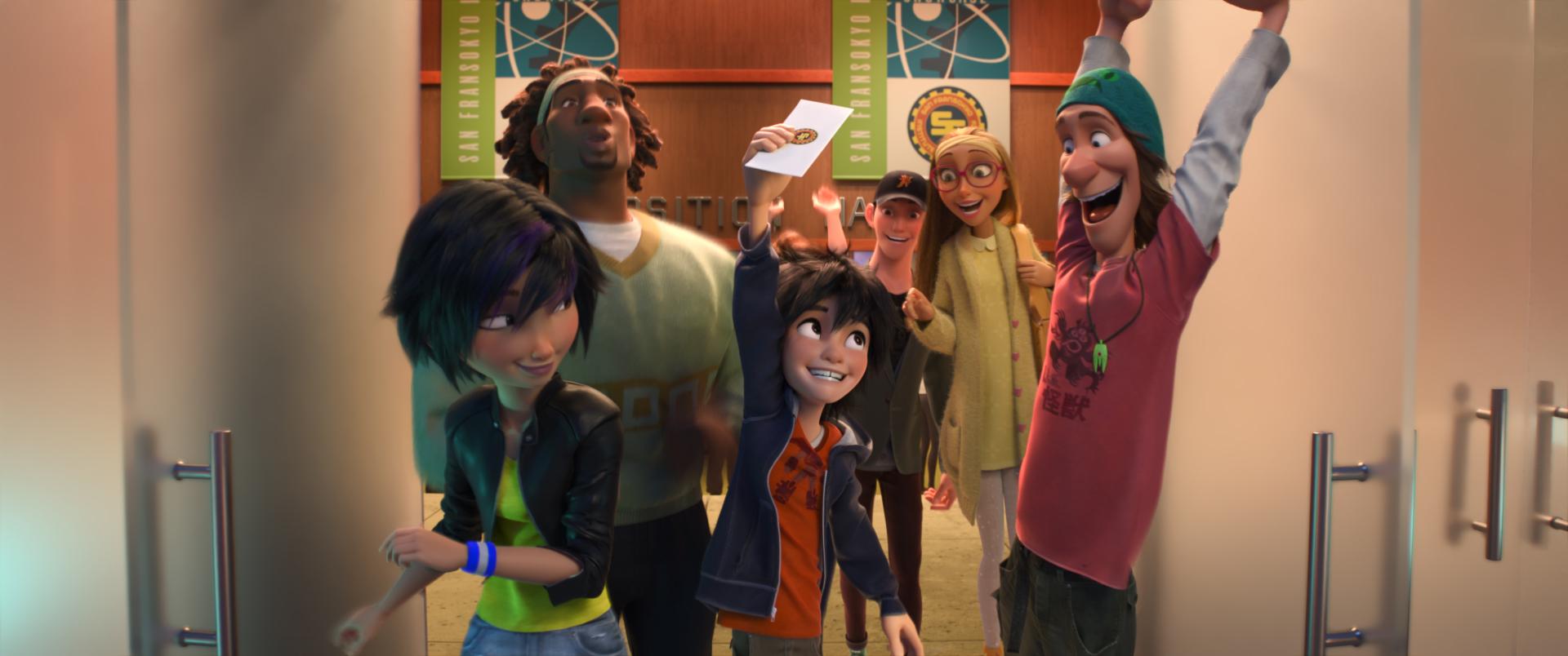 Big Hero 6: Hiro e Tadashi insieme ai loro amici in una scena