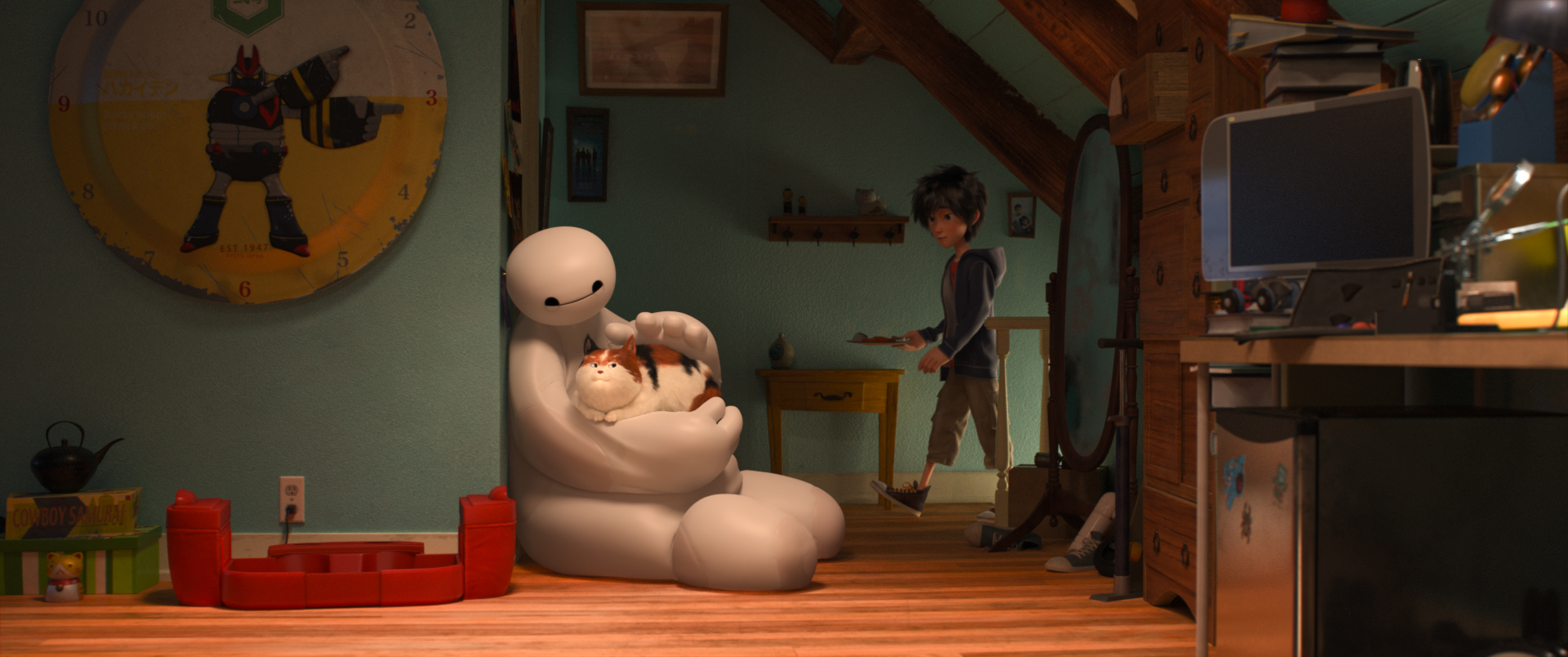 Big Hero 6: Baymax accarezza il gatto di Hiro in una tenera scena del film