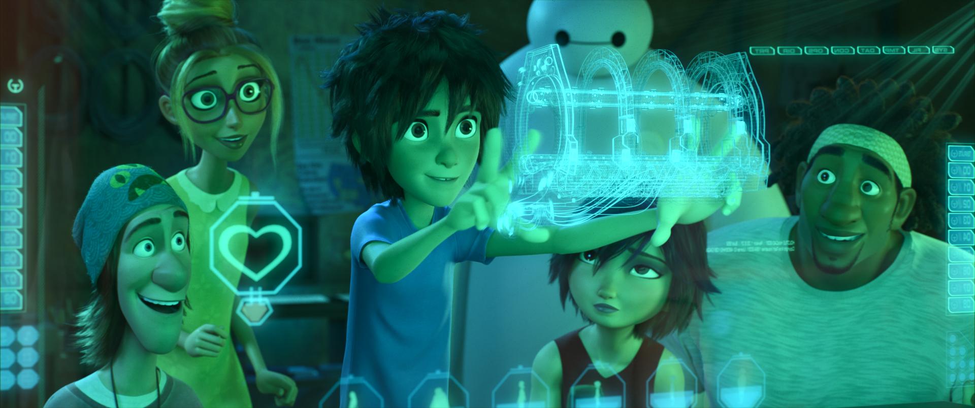Big Hero 6: Fred con Wasabi, Honey Lemon, GoGo Tomago e Hiro in una scena del film d'animazione