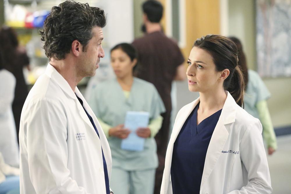 Grey's Anatomy: Patrick Dempsey e Caterina Scorsone interpretano una scena dell'episodio Could We Start Again, Please?
